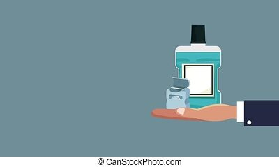 Dental hygiene concept HD animation - Hand with mouthwash...