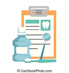 dental hygiene equipment and clipboard
