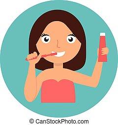 dental hygiene. happy girl brushing her teeth