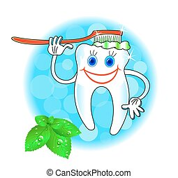 Cheerful smiling tooth with a toothbrush, teeth health