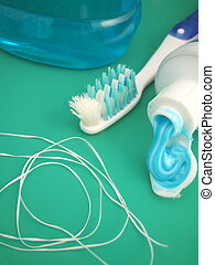 dental hygiene - toothpaste, toothbrush, mouthwash, and...