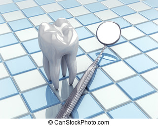 Dental hygiene - Angled mirror and tooth model on white and...