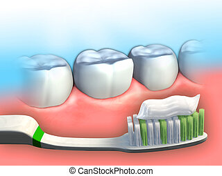 Dental hygiene - Toothbrush and toothpaste in front of some...
