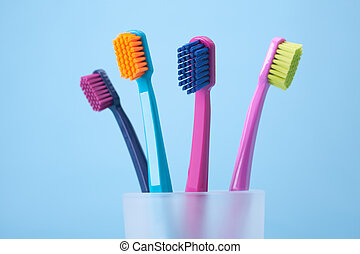 Dental hygiene - toothbrushes - Four toothbrushes - dental...