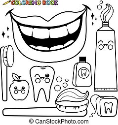 Dental hygiene vector set. Black and white coloring page