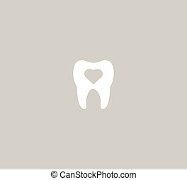 Dental icon vector template - tooth and heart on a gray background