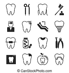 dental, iconos, conjunto