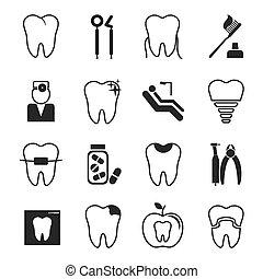 dental, iconos, conjunto