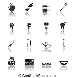 Dental icons black - Dental health and caries teeth...