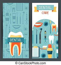 dental, icons., equipamento, desenho, bandeiras, médico