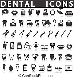 Dental Icons on a white background with a shadow
