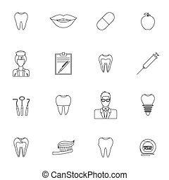 Dental icons outline