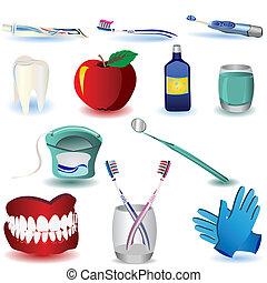 Dental Icons Set 4 - Vector illustration of colored dental...
