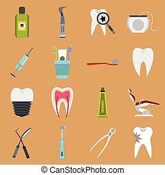 Dental icons set, flat style