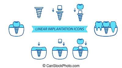 Dental Icons Set. Linear implantation icons. Line style.