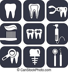 Dental icons set on grey