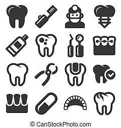 Dental Icons Set on White Background. Vector