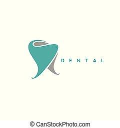 dental, ilustración, vector, logotipo, símbolo, mínimo