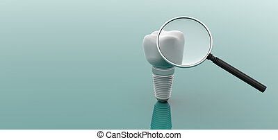 Dental implant and magnifier on green background. 3d...