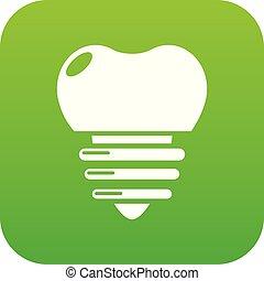 Dental implant icon green vector