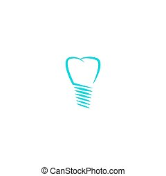 Dental implant logo, tooth silhouette linear design dentist logotype, medical icon