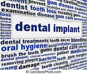 Dental implant medical message background
