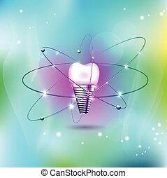 dental, implante, científico, moderno, diseño