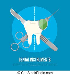 Dental instruments banner with syringe and scalpel