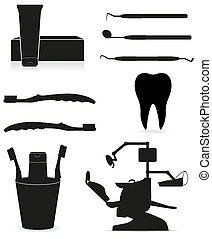dental instruments black silhouette vector illustration isolated on white background