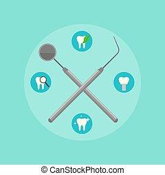 Dental instruments crosswise on color background