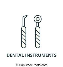 Dental instruments vector line icon, linear concept, outline sign, symbol