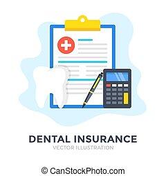 Dental insurance. Flat design. Claim form, dental benefits, health insurance concepts. Vector illustration