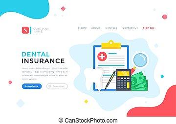 Dental insurance. Health plan, medical care, healthcare concept. Modern flat design graphic elements for web banner, landing page template, website. Vector illustration