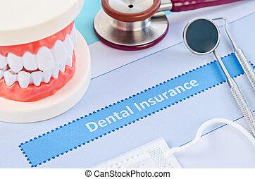 Dental insurance with dental equipment.