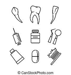 dental, jogo, branca, fundo, ícones