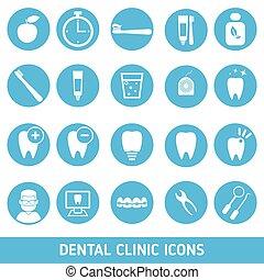 dental, jogo, clínica, icons.