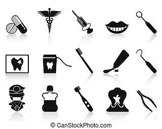 dental, jogo, pretas, ícones