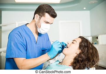 dental, klinik, tandläkare, behandling, kvinnlig, mottagande