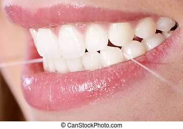 dental, kvinna, ung, flocksilke