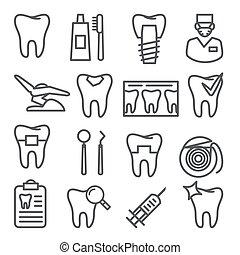 Dental line icons set on white background