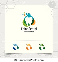 Dental logo dentist vector design with concept of colorful tooth icon . Dental care for hospital, doctor, clinic, and health.