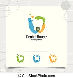Dental logo dentist vector design with concept of house and tooth icon . Dental care for hospital, doctor, clinic, and health.
