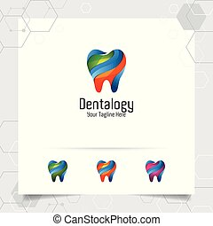 Dental logo dentist vector design with concept of modern colorful tooth icon . Dental care for hospital, doctor, clinic, and health.