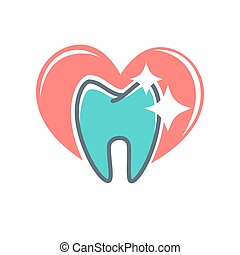 Dental logo on background of red heart. Dentistry icon, toothpaste