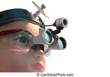 Dental loupe - Dental head-mounted loupe is dressed on a...