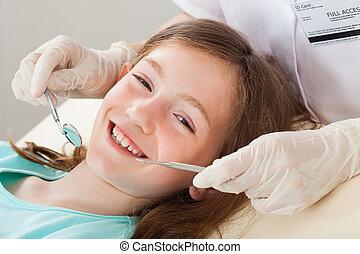 dental, m�dchen, behandlung, durchmachen, glücklich
