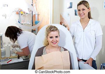 dental, mannschaft, am arbeitsplatz