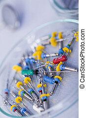 Dental medicine - Dentist equipment on blue background