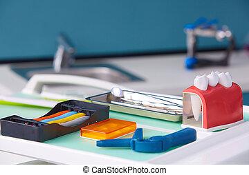 Dental model and dental equipment. Concept image of dental background. Dental hygiene background