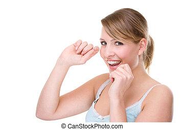 dental, mulher, floss